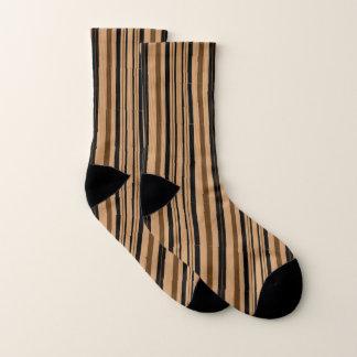Brown Black Tan Beige Stripe Pattern Socks 1