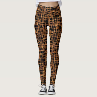 Brown Black Woven Leggings