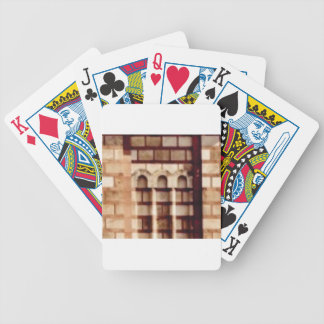 brown block window bicycle playing cards