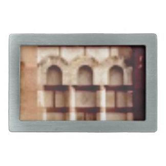 brown block window rectangular belt buckle