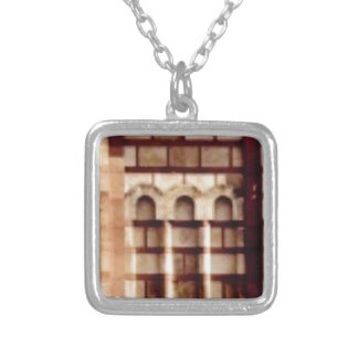 brown block window silver plated necklace