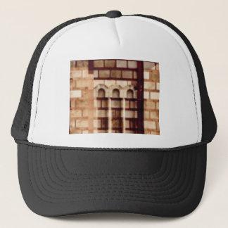 brown block window trucker hat