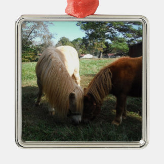 "Brown Blond,"" Miniature Horses""Two Little Ponies Silver-Colored Square Ornament"