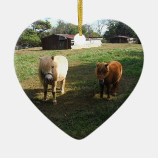 "Brown Blond, Two Miniature Horses, ""Little Pony "" Ceramic Heart Ornament"