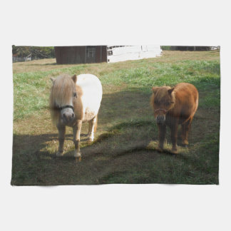 "Brown Blond, Two Miniature Horses, ""Little Pony "" Kitchen Towel"