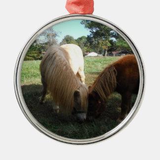 "Brown Blonde,"" Miniature Horses""Two Little Ponies Metal Ornament"