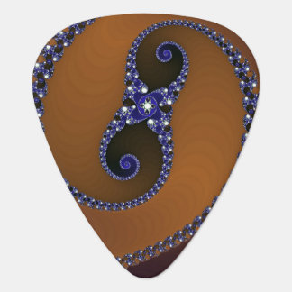 Brown Blue Abstract Swirl Guitar Pick