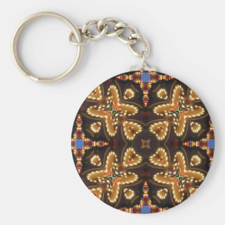 Brown,Blue, And Black Abstract Products Basic Round Button Keychain