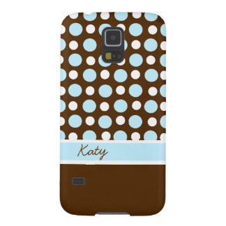 Brown, Blue, and White Polka Dot Custom Case For Galaxy S5