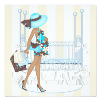 Brown Blue Baby Boy Shower Card
