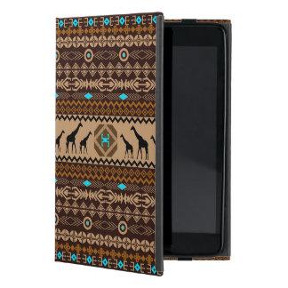 Brown Blue & Beige African Pattern & Giraffe iPad Mini Cover