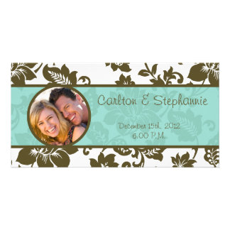 Brown/Blue Floral Damask Wedding Announcement Photo Card Template