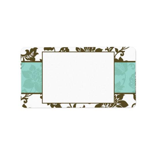Brown/Blue Floral Damask Wedding Mailing Label