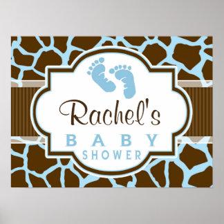 Brown, Blue Giraffe Animal Print Baby Shower