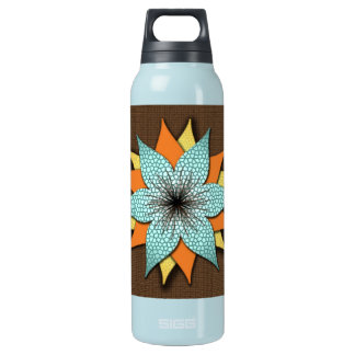 Brown Blue Green Flower Design Water Bottle
