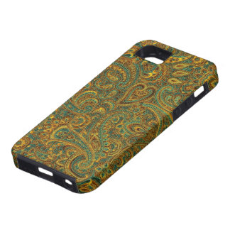 Brown& Blue Ornate Floral Paisley Pattern Case For The iPhone 5