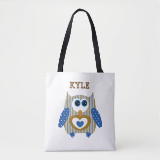 Brown Blue Owl Customized Name Tote Bag