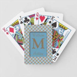 Brown Blue Pattern Monogrammed Playing Cards