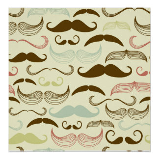 Brown, Blue & Pink Mustaches Poster