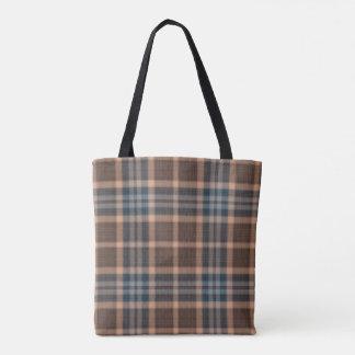 Brown Blue Tartan Plaid Tote Bag