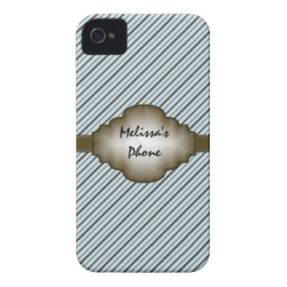 Brown & Blue Vintage Stripes Blackberry Phone Case Case-Mate iPhone 4 Case