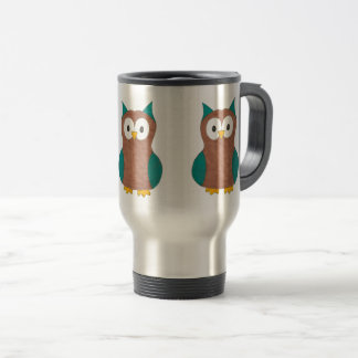 Brown Blue Wise Owl Eyes Cartoon Bird Animal Travel Mug