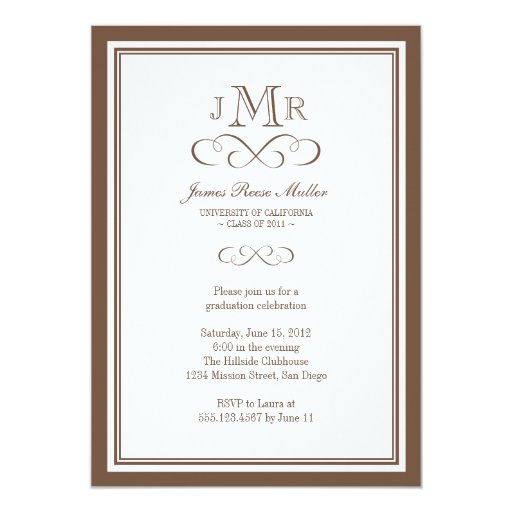 "Brown border frame classy monogram graduation 5"" x 7"" invitation card"