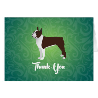 Brown Boston Terrier Thank You Note Design Card