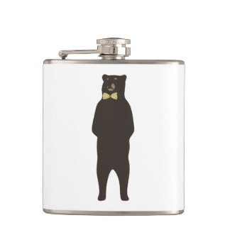 brown bow bear hip flask