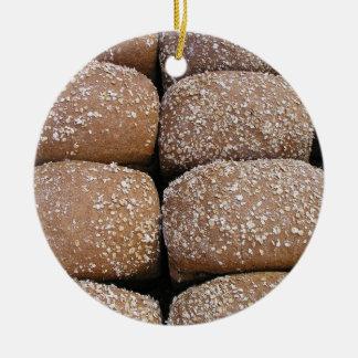 Brown bread rolls ceramic ornament