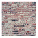 Brown Brick Background Red Bricks Grunge Wall Poster