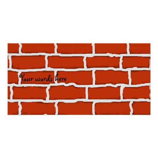 Brown brick wall background photo card