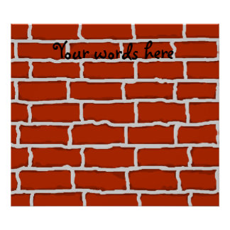 Brown brick wall background poster