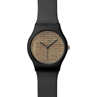 BROWN BRICK WALL ON BLACK WRISTWATCH