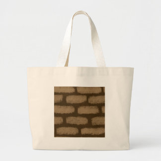 Brown Bricks Pattern Large Tote Bag