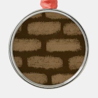 Brown Bricks Pattern Metal Ornament