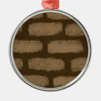 Brown Bricks Pattern Silver-Colored Round Ornament