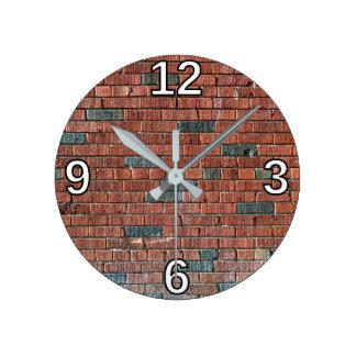 Brown Brickwork Wall Pattern Clocks