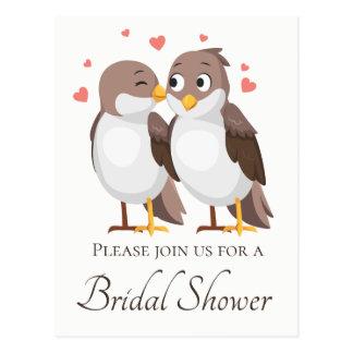 Brown Bridal Shower Lovebirds Wedding Love Postcard