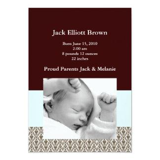 Brown Brocade & Seafoam Green Birth Announcements