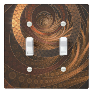Brown, Bronze, Wicker, and Rattan Fractal Circles Light Switch Cover