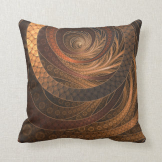 Brown, Bronze, Wicker, and Rattan Fractal Circles Throw Pillow