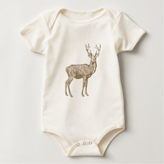 Brown buck hunting baby bodysuit