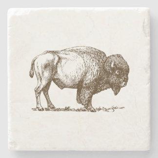 Brown Buffalo Bison Stone Coaster