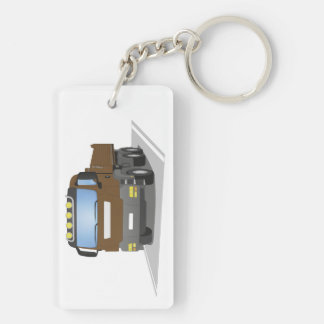 brown building sites truck Double-Sided rectangular acrylic keychain
