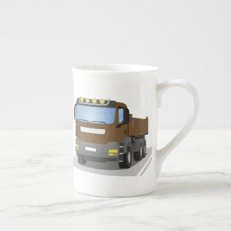 brown building sites truck tea cup