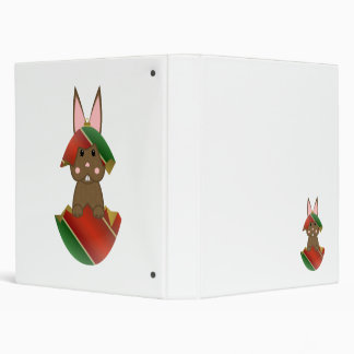 Brown Bunny In A Christmas Ornament 3 Ring Binders