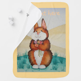 brown bunny rabbit smiling with colorful daisies baby blanket