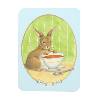 Brown Bunny with Cup of Coffee Rectangular Photo Magnet