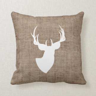 Brown Burlap and White Deer Silhouette Throw Pillow